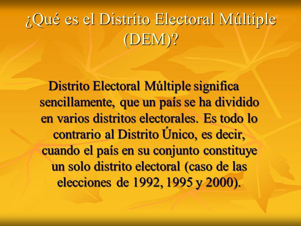 ¿Qué es el Distrito Electoral Múltiple (DEM)? Distrito Electoral Múltiple significa sencillamente, que un país se ha dividido en varios distritos elec
