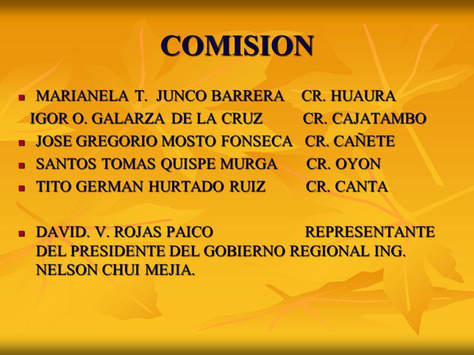 COMISION MARIANELA T. JUNCO BARRERA CR. HUAURA MARIANELA T. JUNCO BARRERA CR. HUAURA IGOR O. GALARZA DE LA CRUZ CR. CAJATAMBO IGOR O. GALARZA DE LA CR