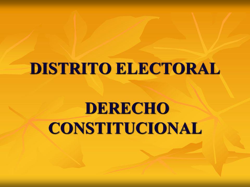 DISTRITO ELECTORAL DERECHO CONSTITUCIONAL