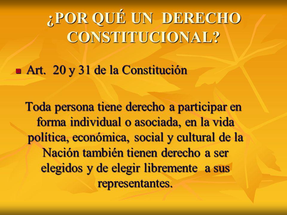 ¿POR QUÉ UN DERECHO CONSTITUCIONAL? Art. 20 y 31 de la Constitución Art. 20 y 31 de la Constitución Toda persona tiene derecho a participar en forma i