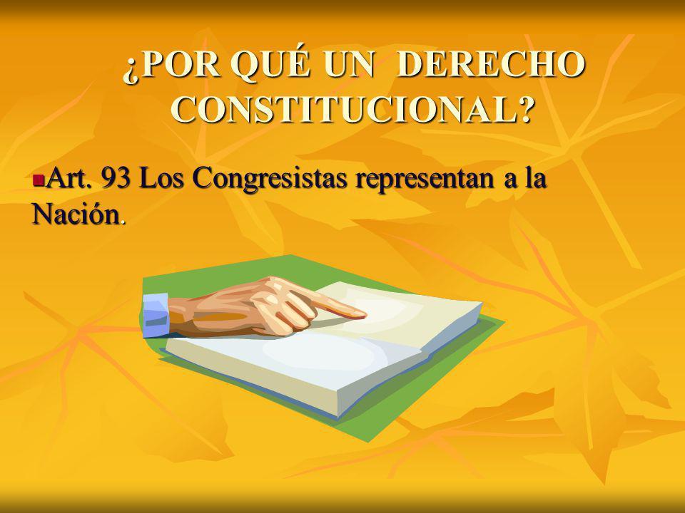 ¿POR QUÉ UN DERECHO CONSTITUCIONAL? Art. 93 Los Congresistas representan a la Nación. Art. 93 Los Congresistas representan a la Nación.