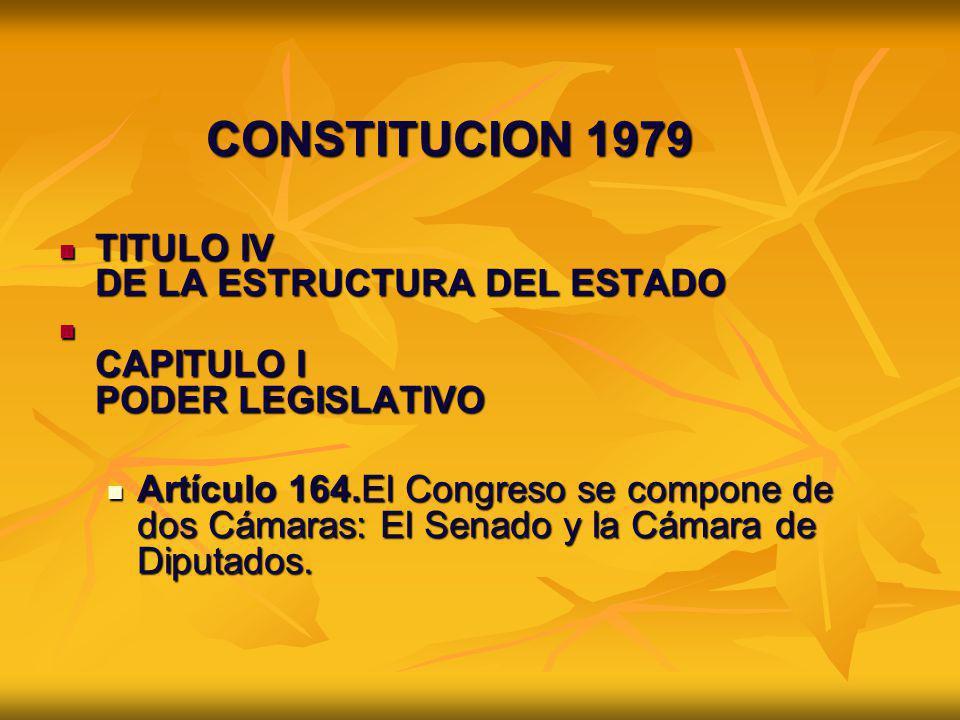 CONSTITUCION 1979 TITULO IV DE LA ESTRUCTURA DEL ESTADO TITULO IV DE LA ESTRUCTURA DEL ESTADO CAPITULO I PODER LEGISLATIVO CAPITULO I PODER LEGISLATIV