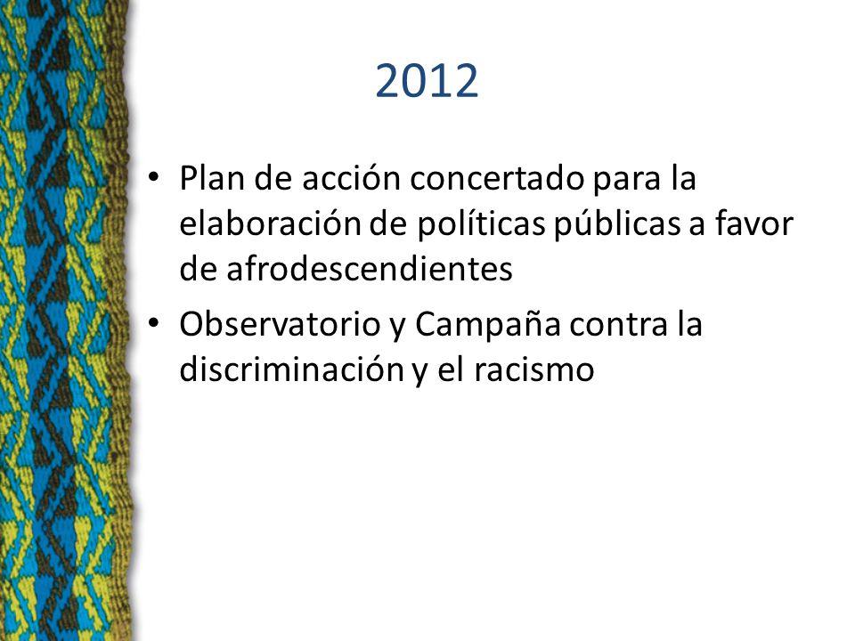 2012 Plan de acción concertado para la elaboración de políticas públicas a favor de afrodescendientes Observatorio y Campaña contra la discriminación y el racismo