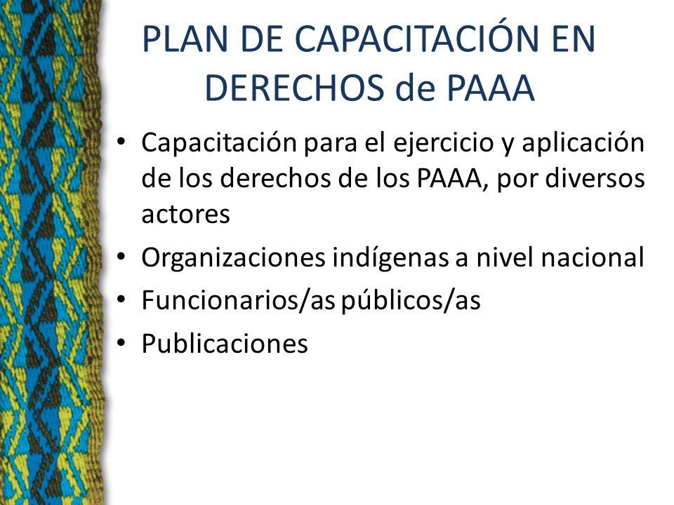 PLAN DE CAPACITACIÓN EN DERECHOS de PAAA Capacitación para el ejercicio y aplicación de los derechos de los PAAA, por diversos actores Organizaciones indígenas a nivel nacional Funcionarios/as públicos/as Publicaciones