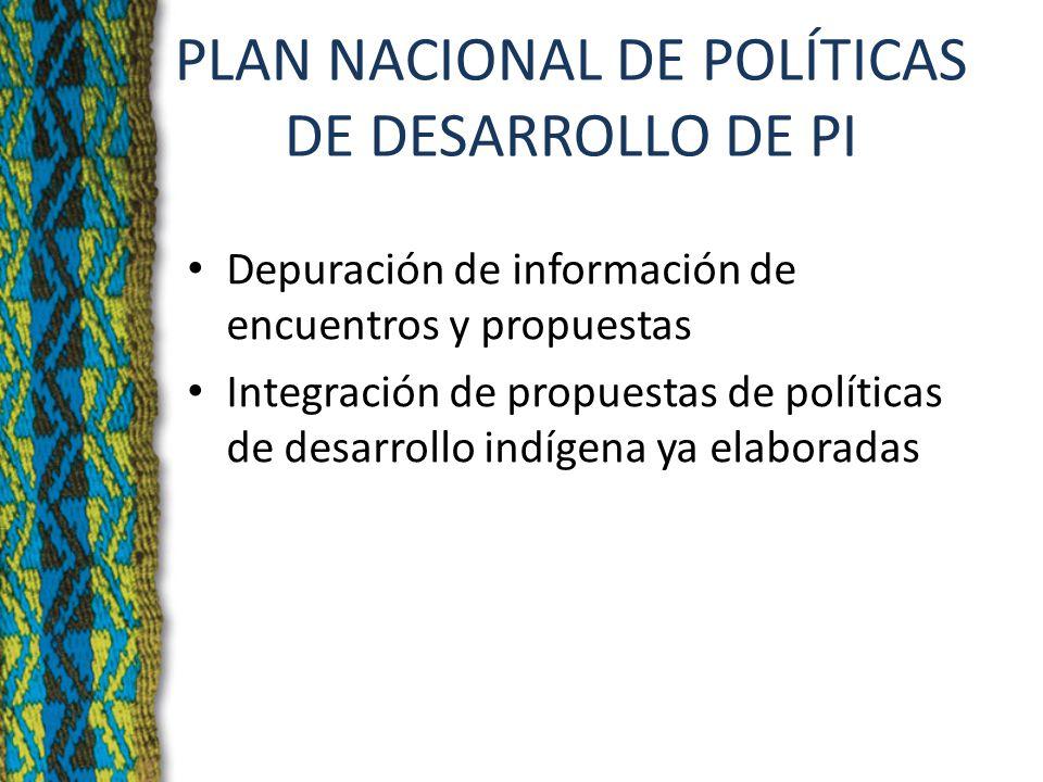 PLAN NACIONAL DE POLÍTICAS DE DESARROLLO DE PI Depuración de información de encuentros y propuestas Integración de propuestas de políticas de desarrollo indígena ya elaboradas