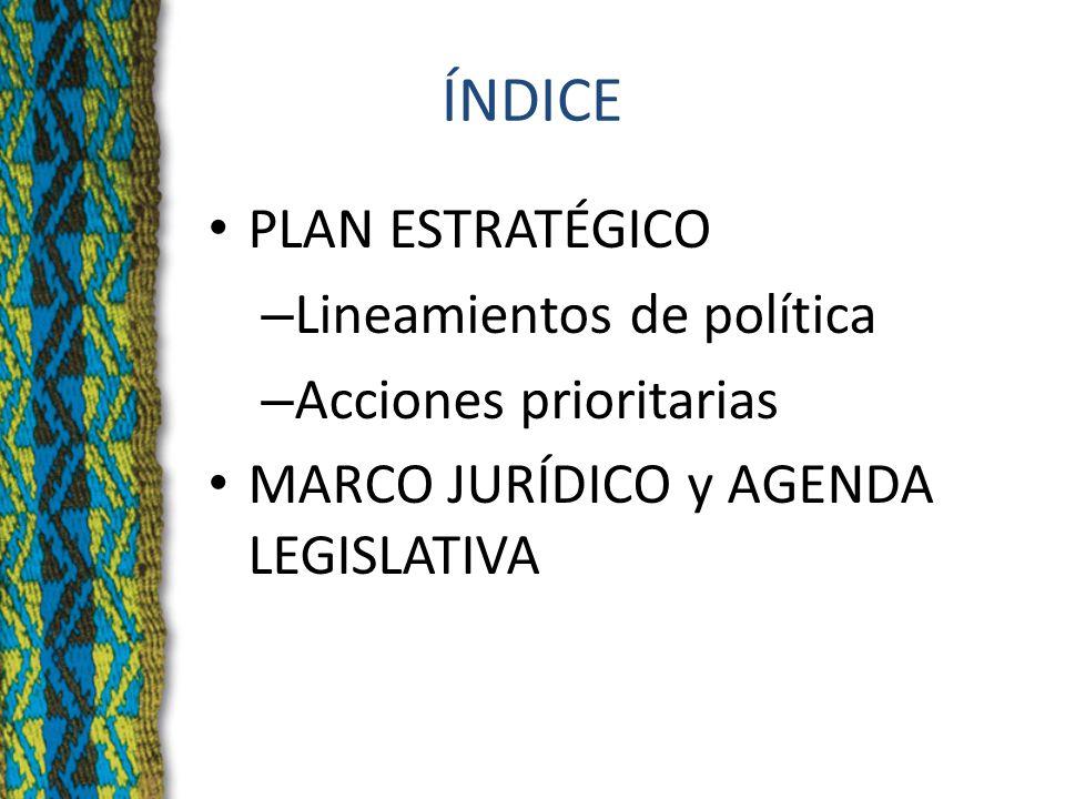 ÍNDICE PLAN ESTRATÉGICO – Lineamientos de política – Acciones prioritarias MARCO JURÍDICO y AGENDA LEGISLATIVA