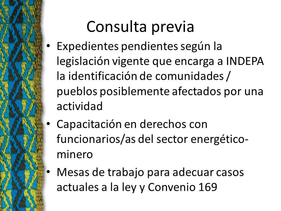 Consulta previa Expedientes pendientes según la legislación vigente que encarga a INDEPA la identificación de comunidades / pueblos posiblemente afectados por una actividad Capacitación en derechos con funcionarios/as del sector energético- minero Mesas de trabajo para adecuar casos actuales a la ley y Convenio 169