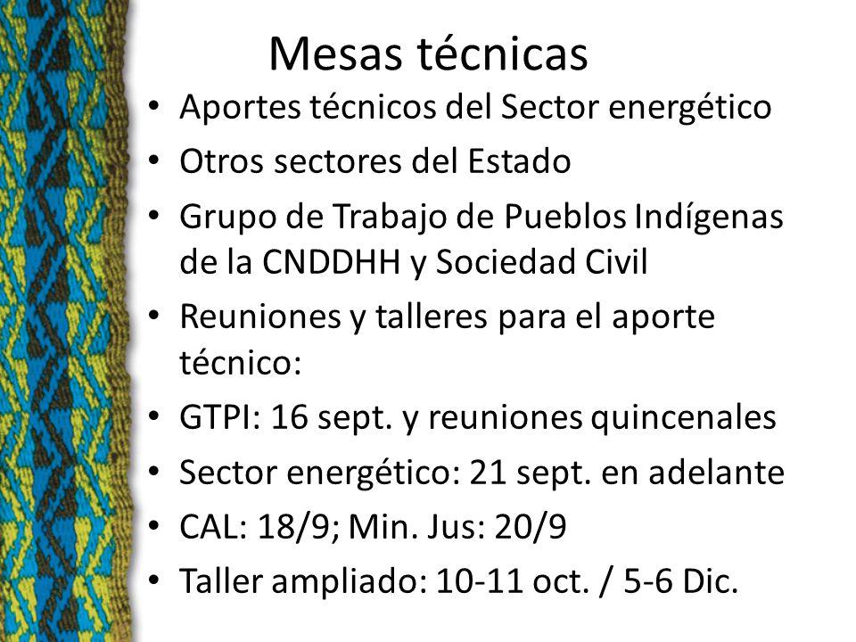 Mesas técnicas Aportes técnicos del Sector energético Otros sectores del Estado Grupo de Trabajo de Pueblos Indígenas de la CNDDHH y Sociedad Civil Reuniones y talleres para el aporte técnico: GTPI: 16 sept.