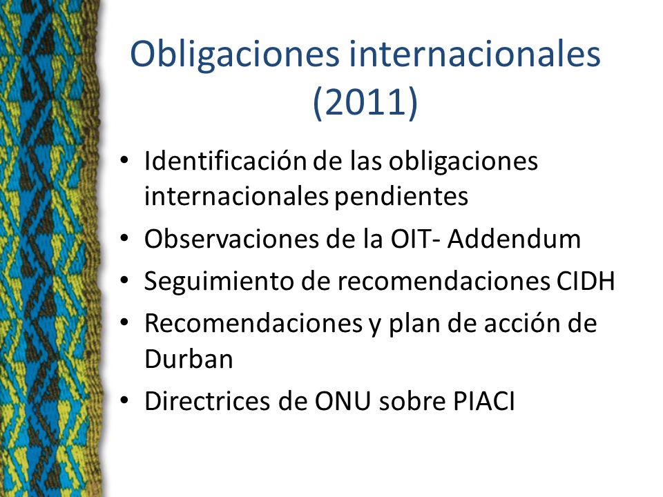Obligaciones internacionales (2011) Identificación de las obligaciones internacionales pendientes Observaciones de la OIT- Addendum Seguimiento de recomendaciones CIDH Recomendaciones y plan de acción de Durban Directrices de ONU sobre PIACI