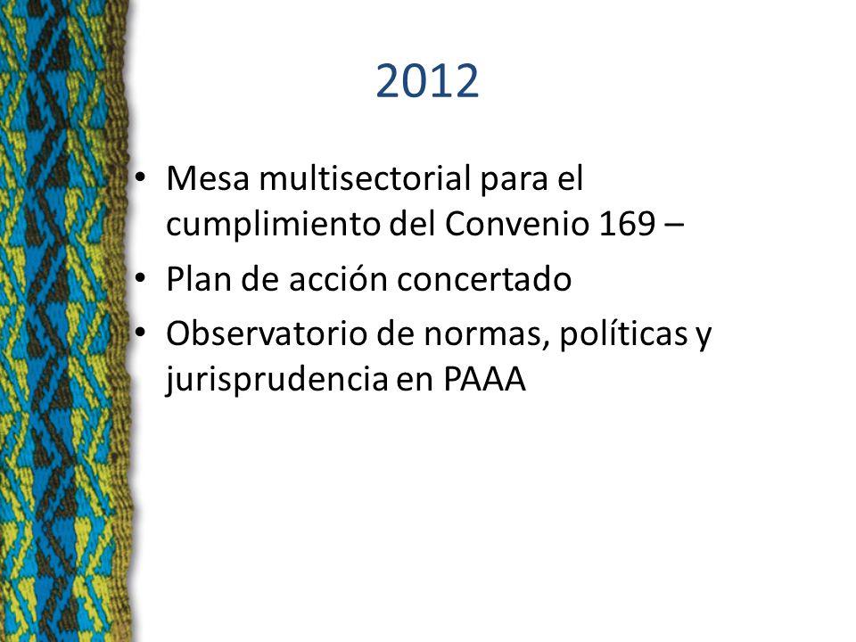 2012 Mesa multisectorial para el cumplimiento del Convenio 169 – Plan de acción concertado Observatorio de normas, políticas y jurisprudencia en PAAA
