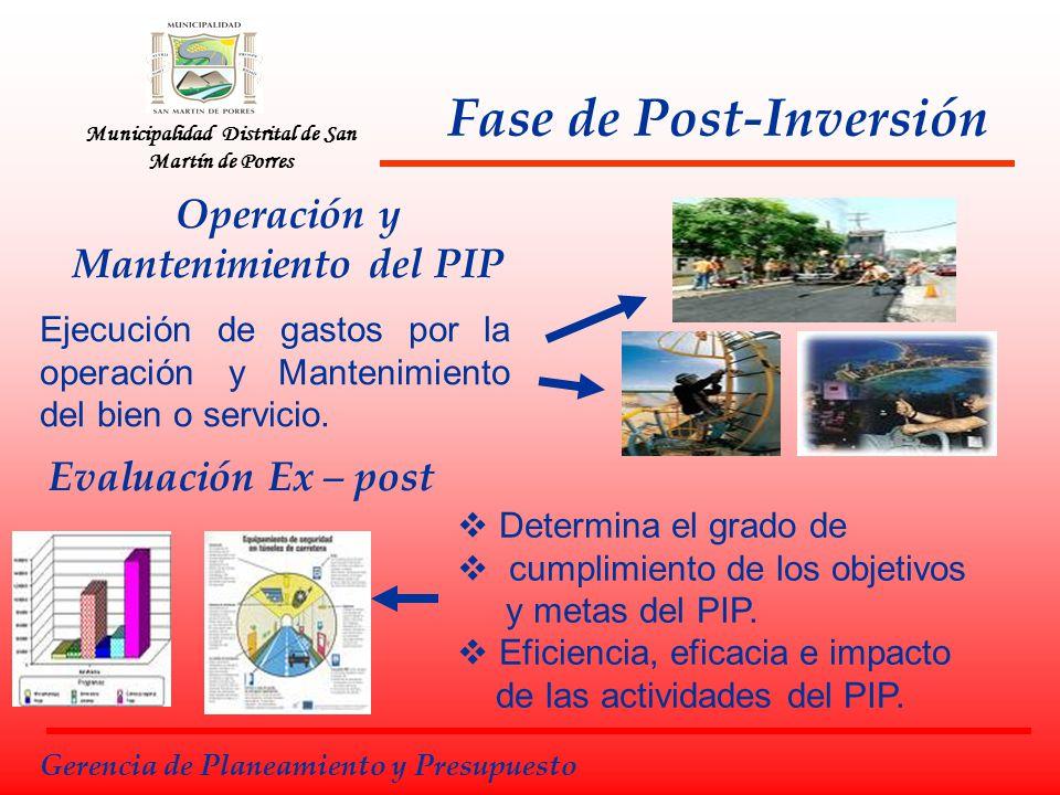 Municipalidad Distrital de San Martín de Porres Fase de Post-Inversión Gerencia de Planeamiento y Presupuesto Evaluación Ex – post Determina el grado