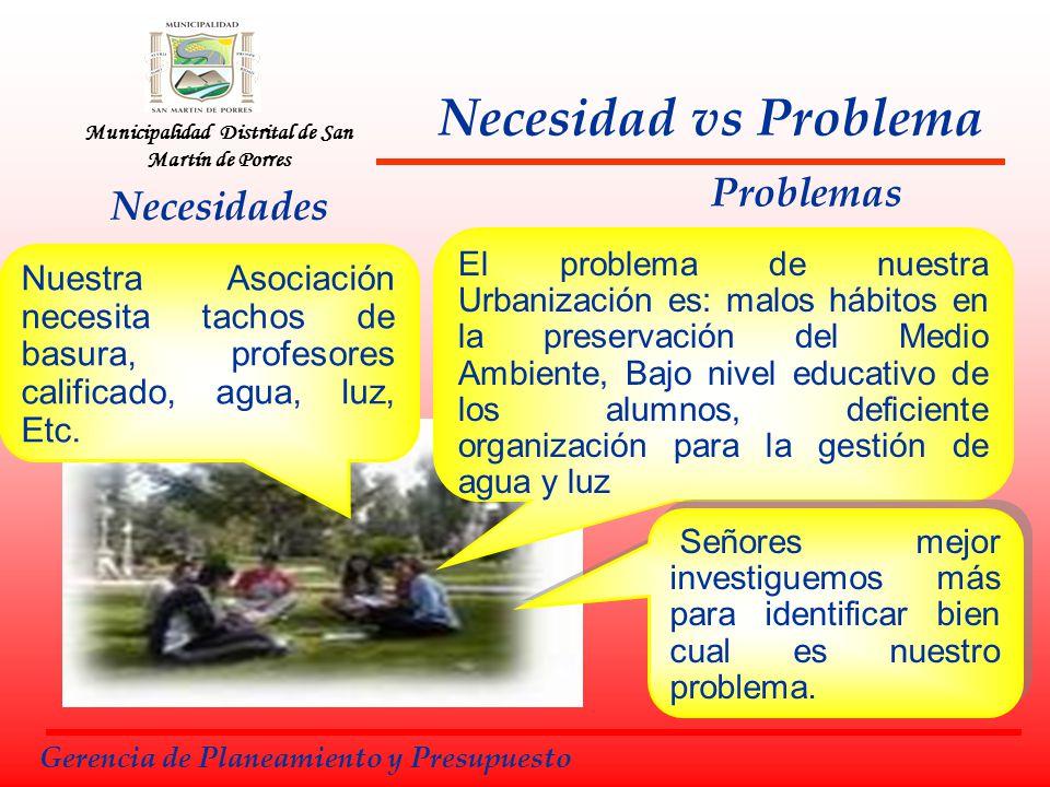Municipalidad Distrital de San Martín de Porres Necesidad vs Problema Necesidades Problemas Nuestra Asociación necesita tachos de basura, profesores c