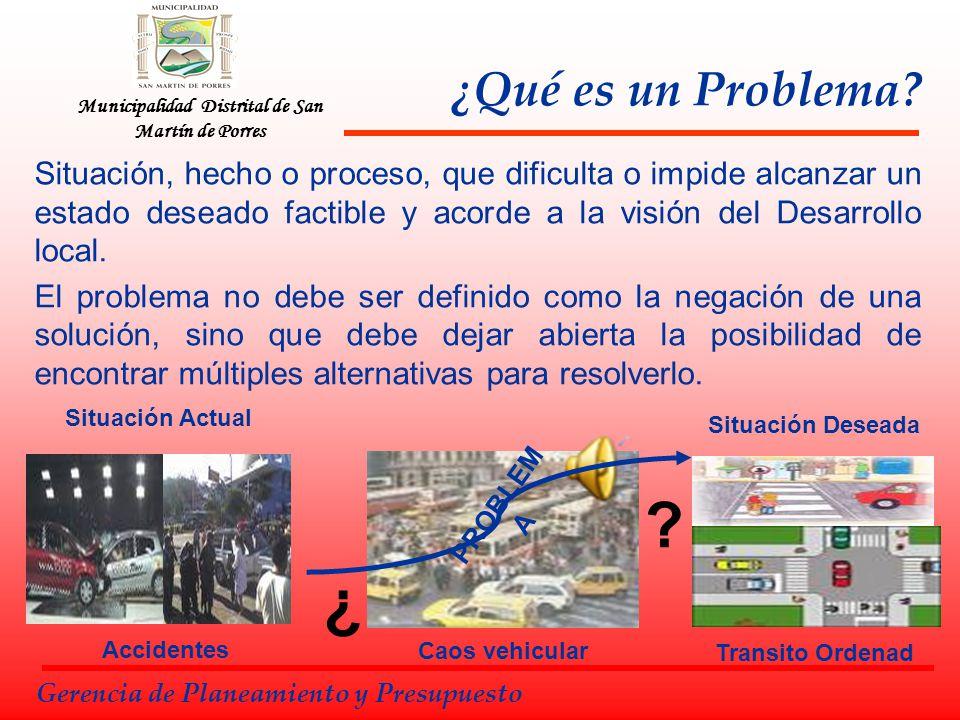 Caos vehicular Municipalidad Distrital de San Martín de Porres ¿Qué es un Problema? Situación, hecho o proceso, que dificulta o impide alcanzar un est