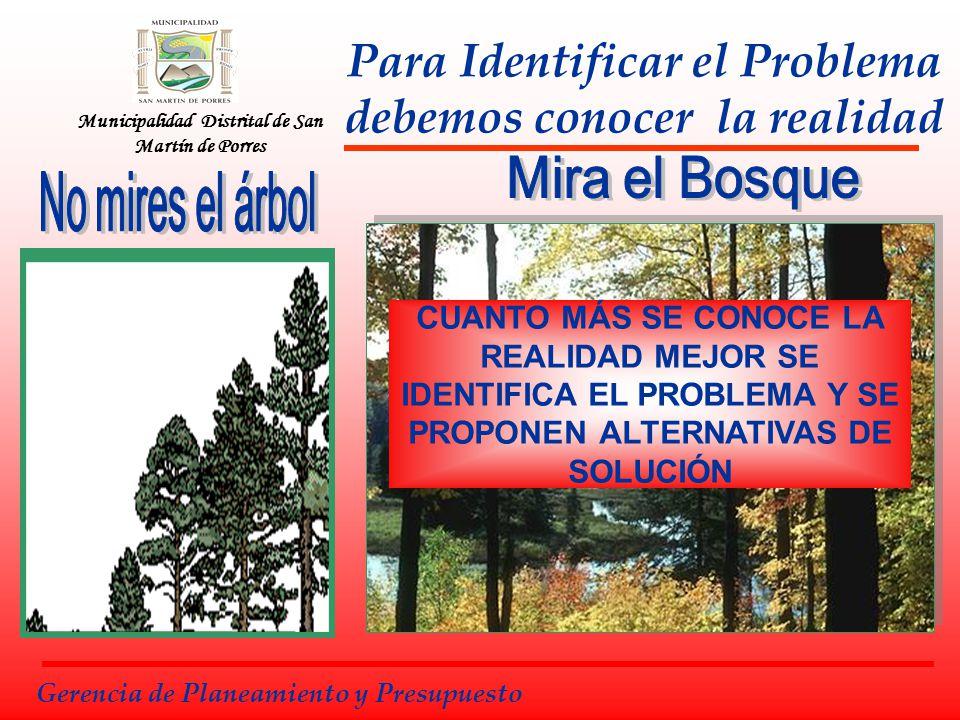 Municipalidad Distrital de San Martín de Porres Para Identificar el Problema debemos conocer la realidad CUANTO MÁS SE CONOCE LA REALIDAD MEJOR SE IDE