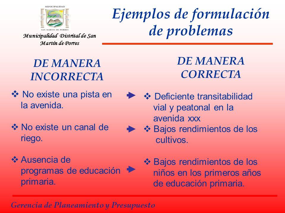 Municipalidad Distrital de San Martín de Porres Ejemplos de formulación de problemas DE MANERA INCORRECTA No existe una pista en la avenida. No existe