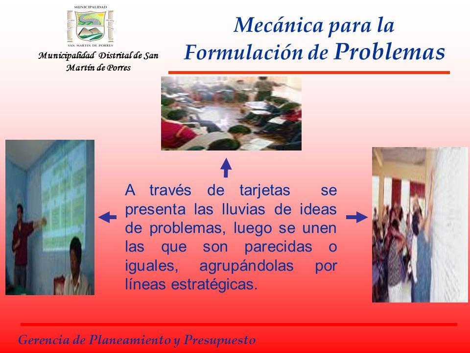 Municipalidad Distrital de San Martín de Porres Mecánica para la Formulación de Problemas A través de tarjetas se presenta las lluvias de ideas de pro