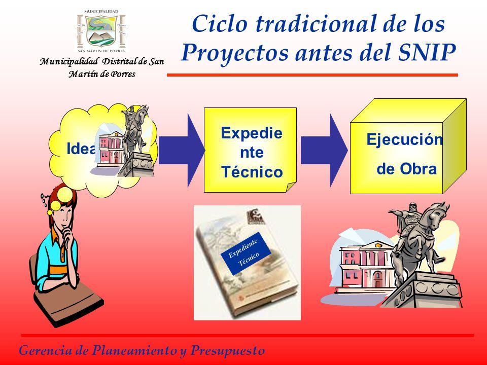 Ciclo tradicional de los Proyectos antes del SNIP Expedie nte Técnico Ejecución de Obra Idea Gerencia de Planeamiento y Presupuesto Expediente Técnico