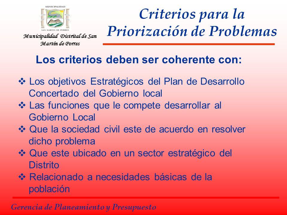 Municipalidad Distrital de San Martín de Porres Gerencia de Planeamiento y Presupuesto Criterios para la Priorización de Problemas Los criterios deben