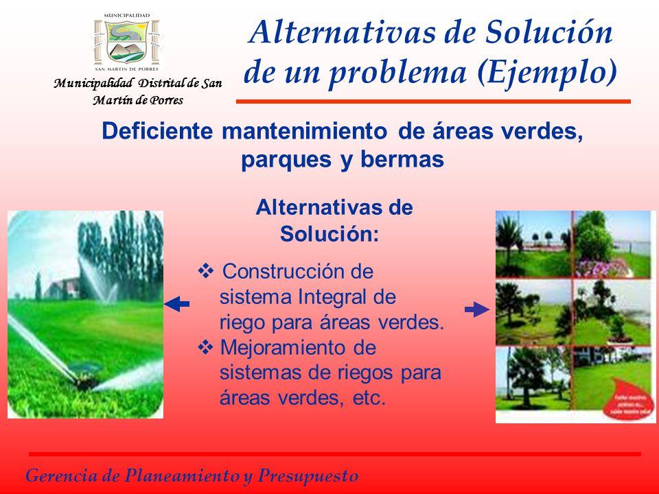 Municipalidad Distrital de San Martín de Porres Alternativas de Solución de un problema (Ejemplo) Alternativas de Solución: Construcción de sistema In