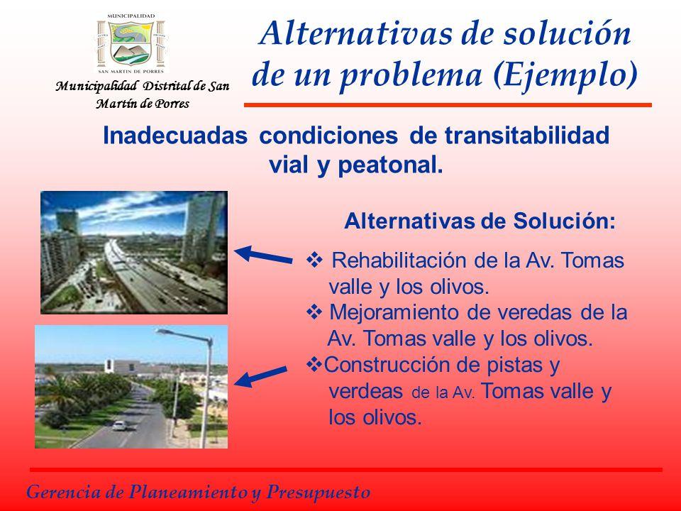 Municipalidad Distrital de San Martín de Porres Alternativas de solución de un problema (Ejemplo) Alternativas de Solución: Rehabilitación de la Av. T