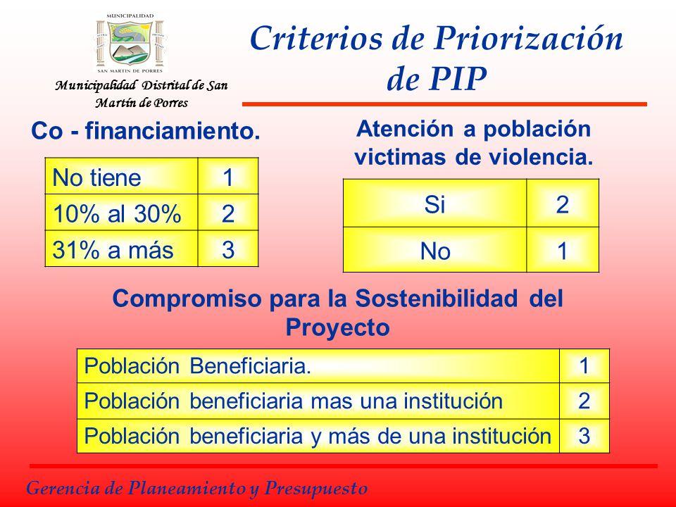 Municipalidad Distrital de San Martín de Porres Gerencia de Planeamiento y Presupuesto No tiene1 10% al 30%2 31% a más3 Co - financiamiento. Compromis