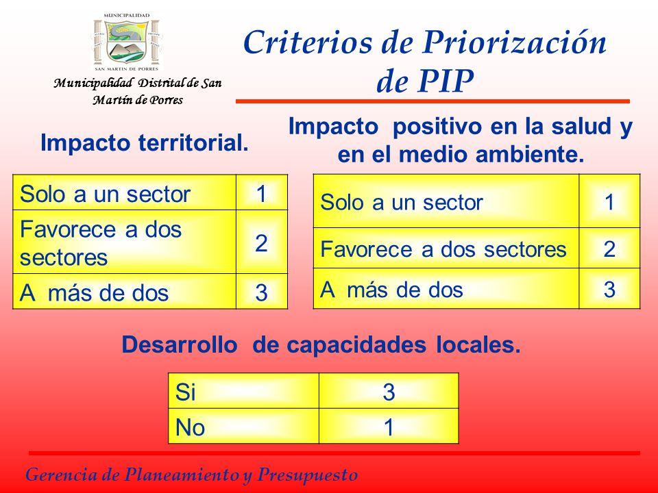 Municipalidad Distrital de San Martín de Porres Gerencia de Planeamiento y Presupuesto Impacto territorial. Solo a un sector1 Favorece a dos sectores