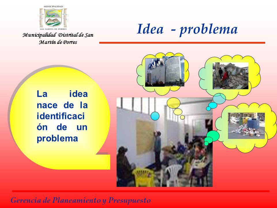 Municipalidad Distrital de San Martín de Porres Fases de la Pre Inversión Gerencia de Planeamiento y Presupuesto Es la Identificación del Problema que ocasiona la necesidad de resolverlo mediante un Proyecto de Inversión Pública.
