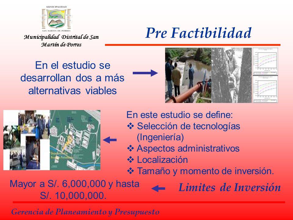 Municipalidad Distrital de San Martín de Porres Factibilidad Gerencia de Planeamiento y Presupuesto Se profundiza el estudio de: Localización, Tamaño y Tecnología Calendario de ejecución Puesta en marcha y lanzamiento.