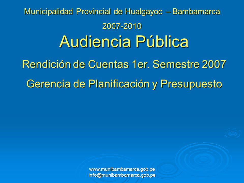 www.munibambamarca.gob.pe info@munibambamarca.gob.pe Municipalidad Provincial de Hualgayoc – Bambamarca 2007-2010 Audiencia Pública Rendición de Cuent