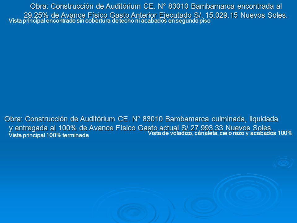 Obra: Construcción de Auditórium CE. N° 83010 Bambamarca culminada, liquidada y entregada al 100% de Avance Físico Gasto actual S/.27,993.33 Nuevos So