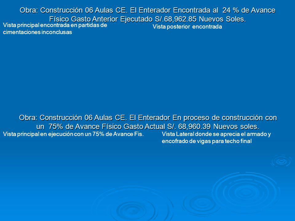 Obra: Construcción 06 Aulas CE. El Enterador En proceso de construcción con un 75% de Avance Físico Gasto Actual S/. 68,960.39 Nuevos soles. Vista pri