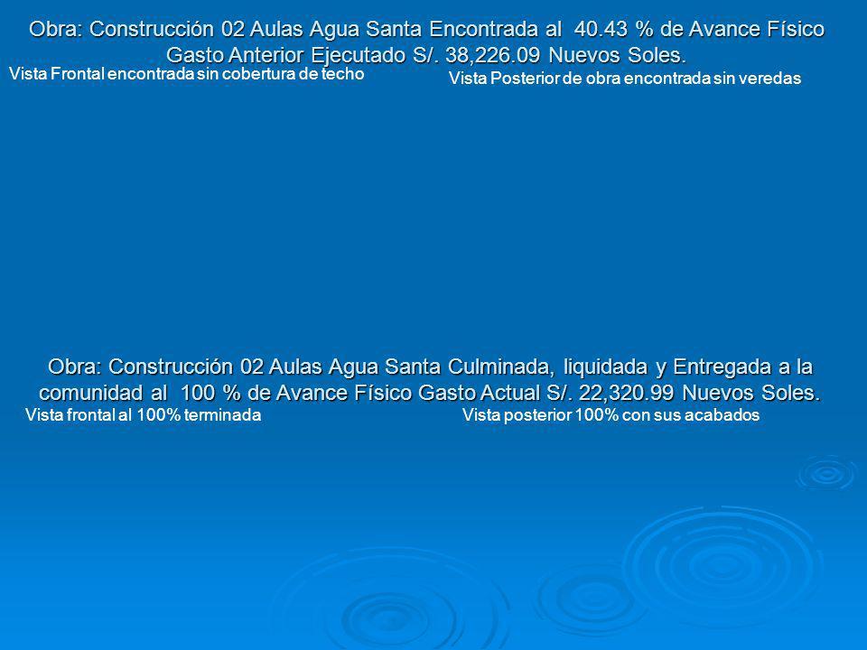 Obra: Construcción 02 Aulas Agua Santa Culminada, liquidada y Entregada a la comunidad al 100 % de Avance Físico Gasto Actual S/. 22,320.99 Nuevos Sol