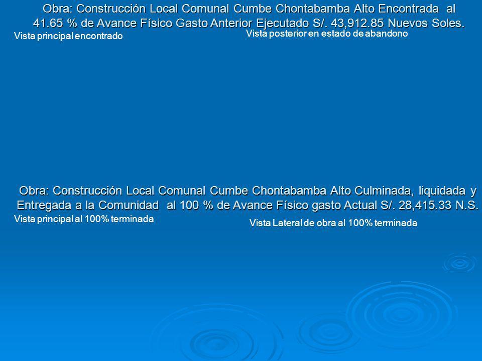 Obra: Construcción Local Comunal Cumbe Chontabamba Alto Culminada, liquidada y Entregada a la Comunidad al 100 % de Avance Físico gasto Actual S/. 28,