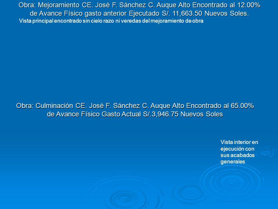 Obra: Culminación CE. José F. Sánchez C. Auque Alto Encontrado al 65.00% de Avance Físico Gasto Actual S/.3,946.75 Nuevos Soles Vista interior en ejec
