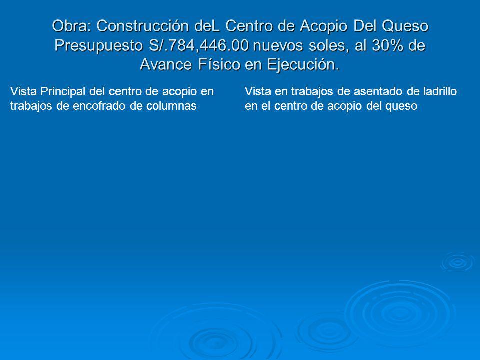 Obra: Construcción deL Centro de Acopio Del Queso Presupuesto S/.784,446.00 nuevos soles, al 30% de Avance Físico en Ejecución. Vista Principal del ce