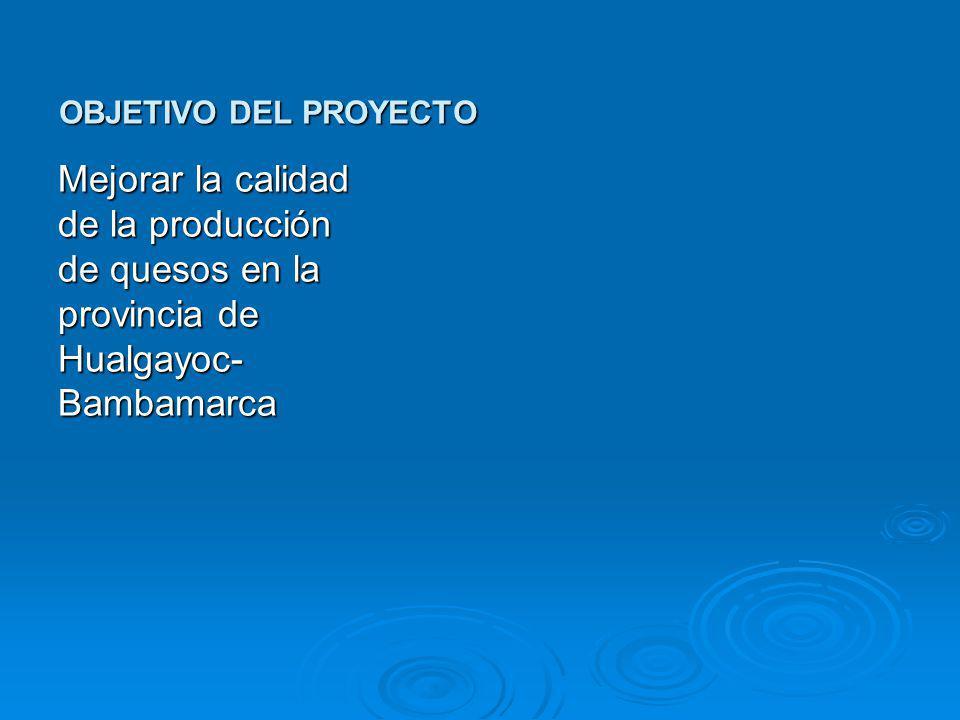 OBJETIVO DEL PROYECTO Mejorar la calidad de la producción de quesos en la provincia de Hualgayoc- Bambamarca