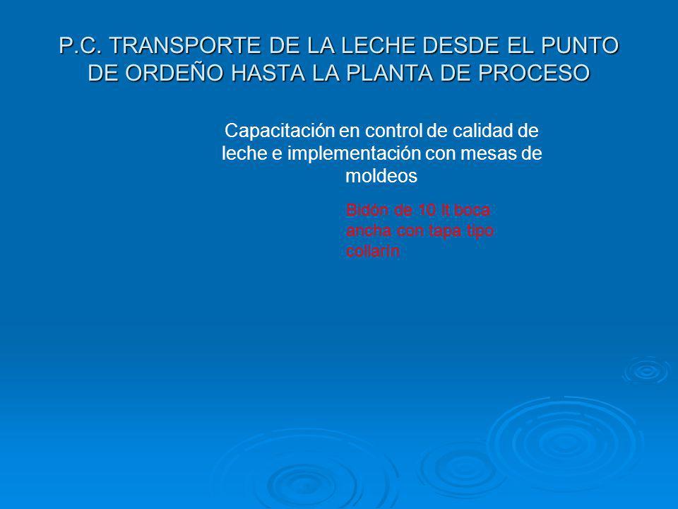 P.C. TRANSPORTE DE LA LECHE DESDE EL PUNTO DE ORDEÑO HASTA LA PLANTA DE PROCESO Capacitación en control de calidad de leche e implementación con mesas