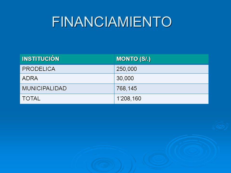 FINANCIAMIENTO INSTITUCIÓN MONTO (S/.) PRODELICA250,000 ADRA30,000 MUNICIPALIDAD768,145 TOTAL1208,160