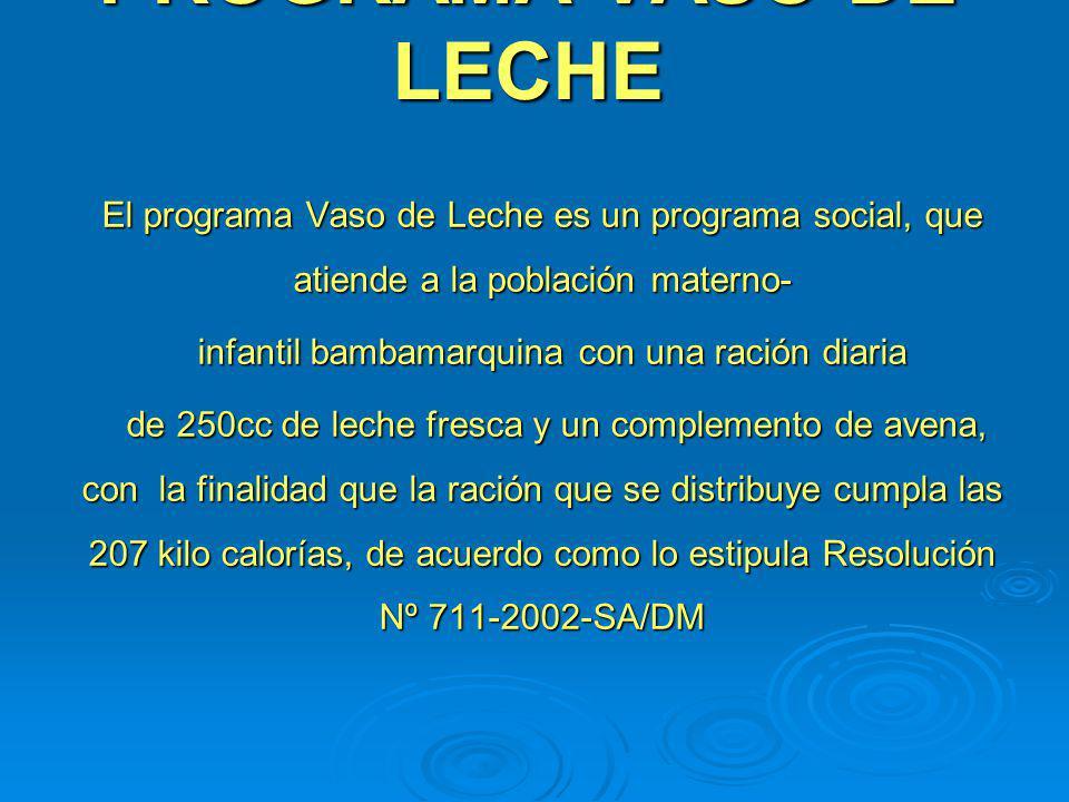 PROGRAMA VASO DE LECHE El programa Vaso de Leche es un programa social, que atiende a la población materno- infantil bambamarquina con una ración diar