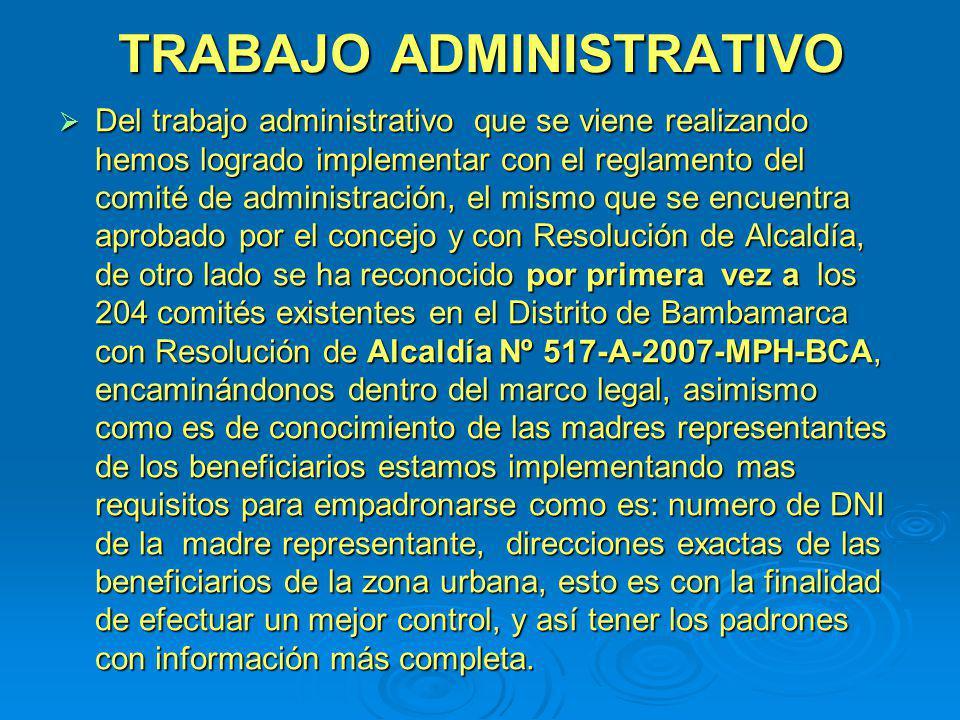 TRABAJO ADMINISTRATIVO Del trabajo administrativo que se viene realizando hemos logrado implementar con el reglamento del comité de administración, el