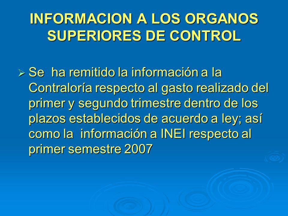 INFORMACION A LOS ORGANOS SUPERIORES DE CONTROL Se ha remitido la información a la Contraloría respecto al gasto realizado del primer y segundo trimes
