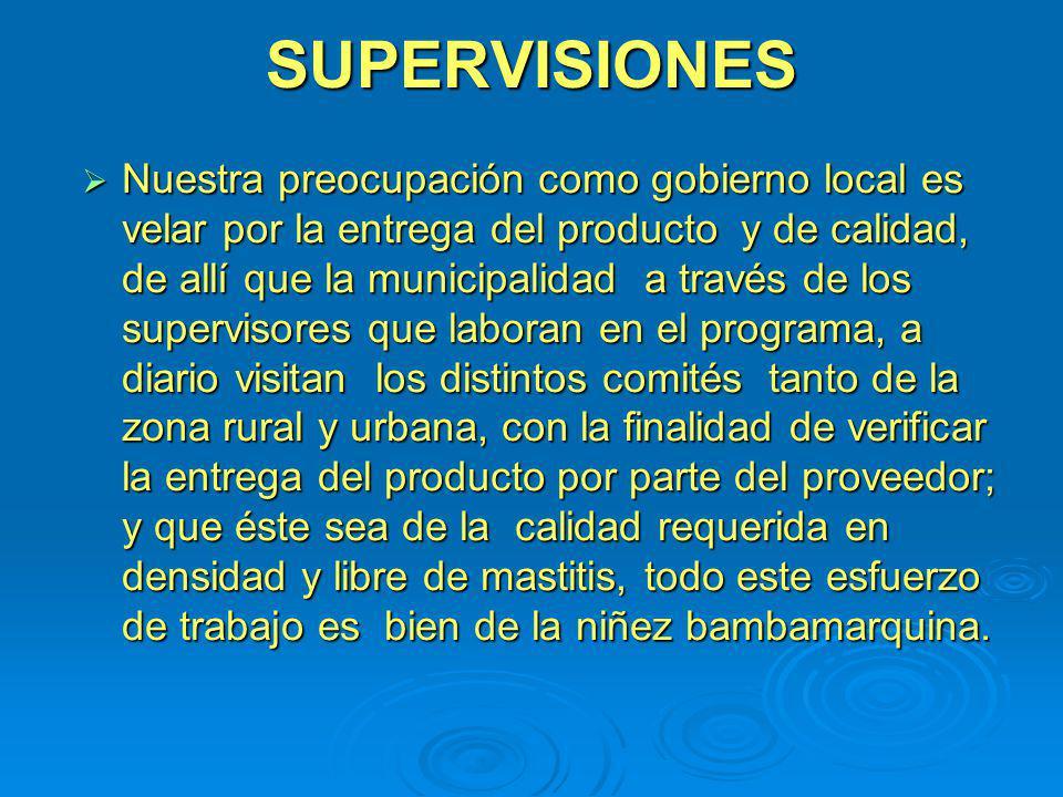 SUPERVISIONES Nuestra preocupación como gobierno local es velar por la entrega del producto y de calidad, de allí que la municipalidad a través de los