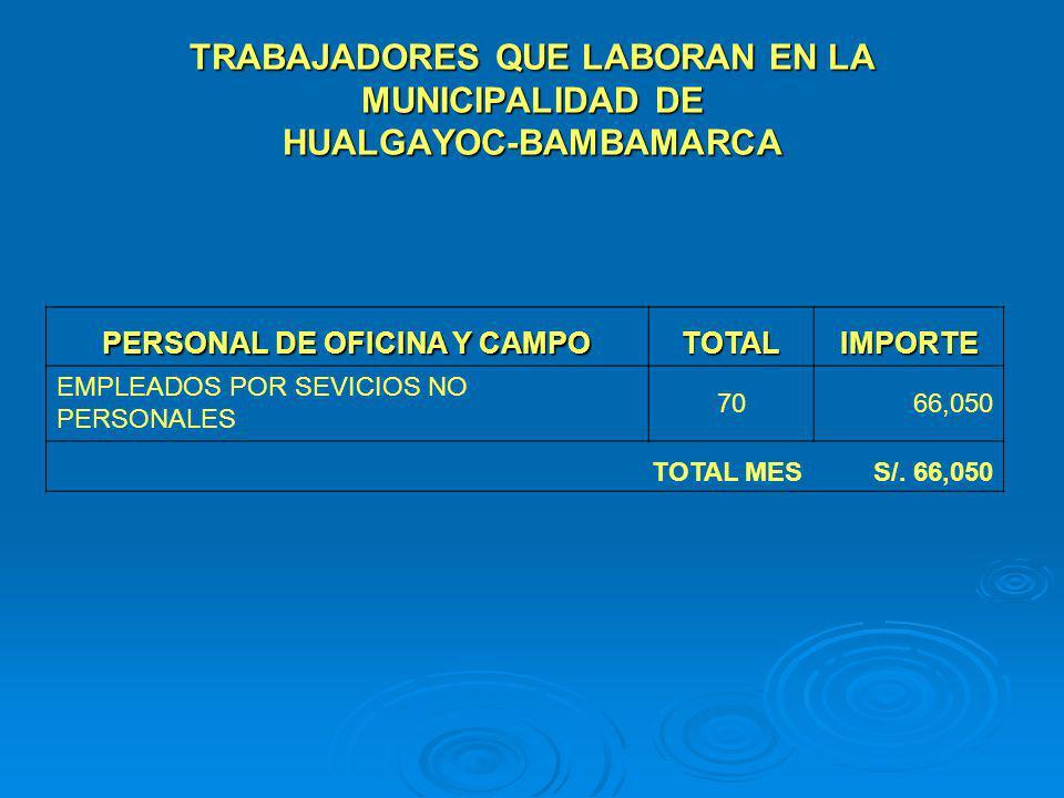 TRABAJADORES QUE LABORAN EN LA MUNICIPALIDAD DE HUALGAYOC-BAMBAMARCA PERSONAL DE OFICINA Y CAMPO TOTALIMPORTE EMPLEADOS POR SEVICIOS NO PERSONALES 706