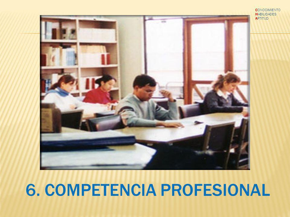 6. COMPETENCIA PROFESIONAL CONOCIMIENTO HABILIDADES APTITUD