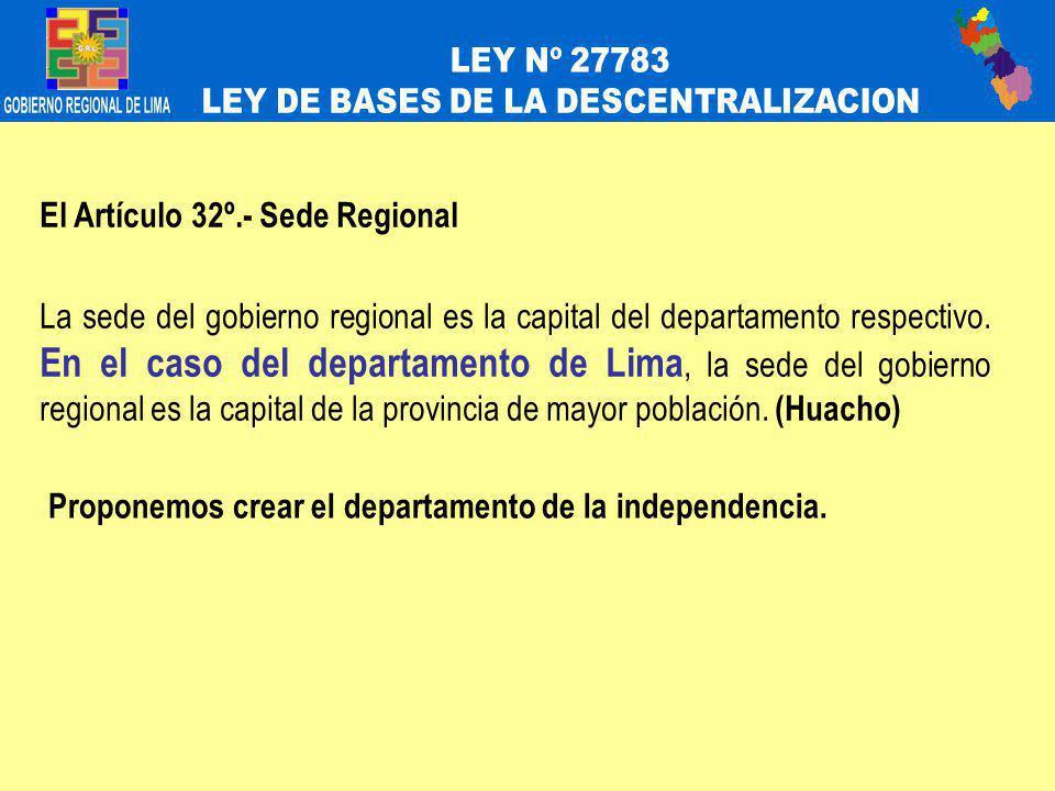 El Artículo 32º.- Sede Regional La sede del gobierno regional es la capital del departamento respectivo.