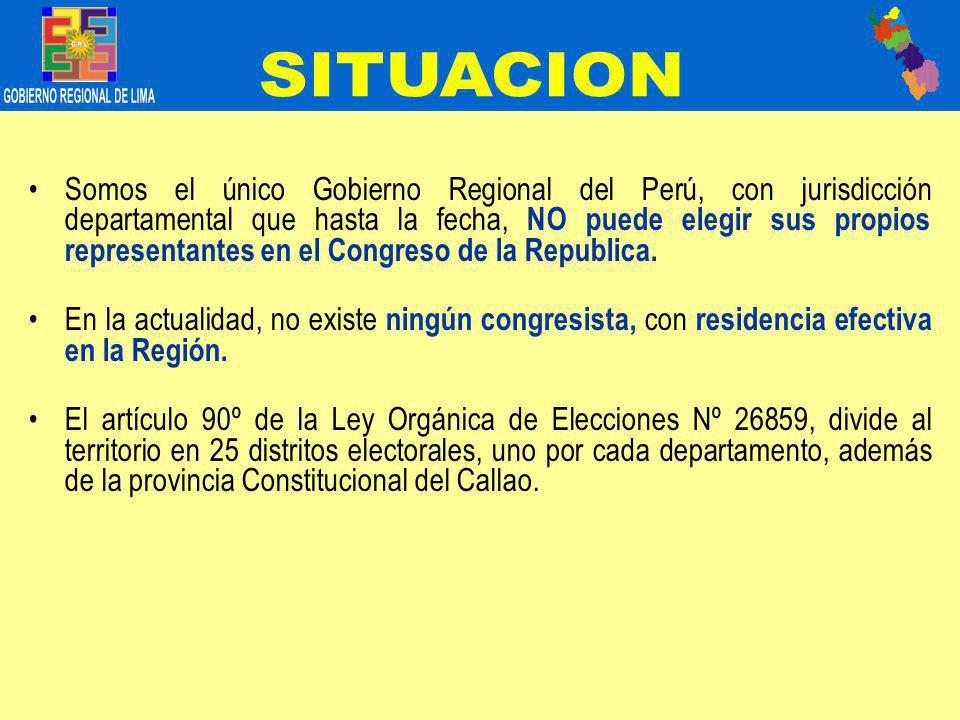 Somos el único Gobierno Regional del Perú, con jurisdicción departamental que hasta la fecha, NO puede elegir sus propios representantes en el Congreso de la Republica.