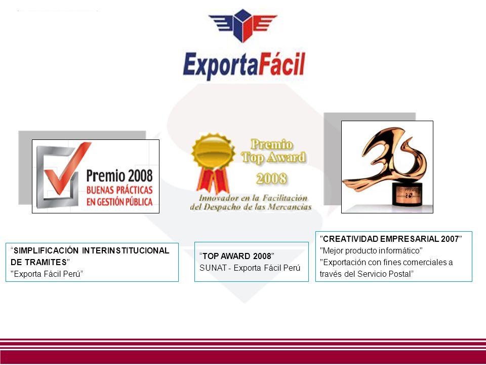 CREATIVIDAD EMPRESARIAL 2007 Mejor producto informático Exportación con fines comerciales a través del Servicio Postal TOP AWARD 2008 SUNAT - Exporta Fácil Perú SIMPLIFICACIÓN INTERINSTITUCIONAL DE TRAMITES Exporta Fácil Perú