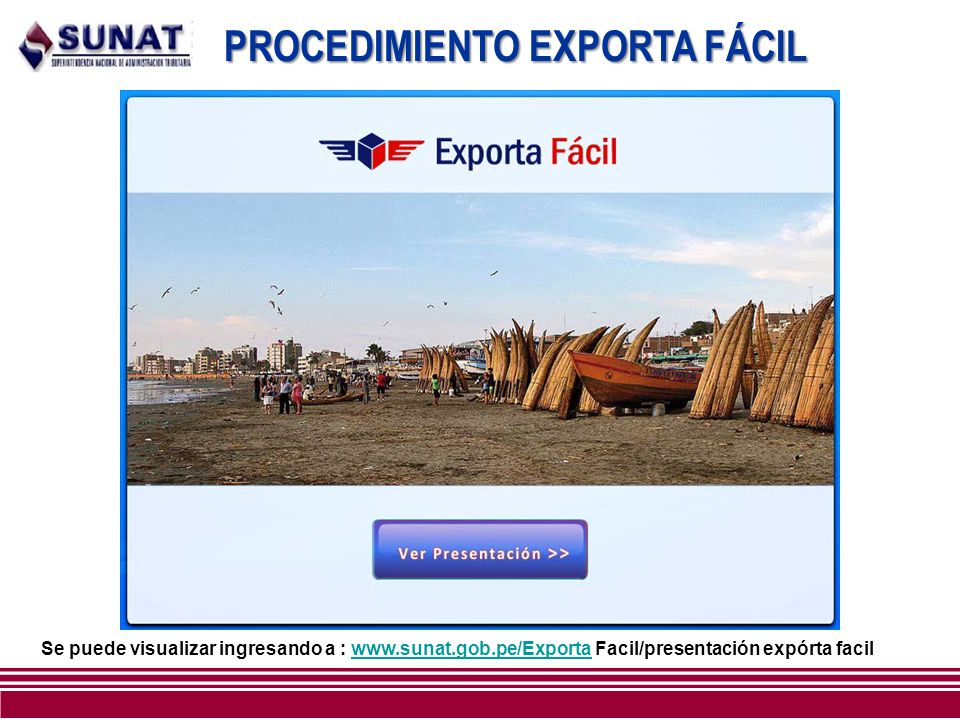 PROCEDIMIENTO EXPORTA FÁCIL Se puede visualizar ingresando a : www.sunat.gob.pe/Exporta Facil/presentación expórta facilwww.sunat.gob.pe/Exporta