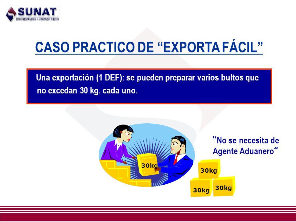 CASO PRACTICO DE EXPORTA FÁCIL Una exportación (1 DEF): se pueden preparar varios bultos que no excedan 30 kg. cada uno. 30kg No se necesita de Agente