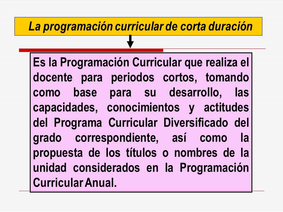 La programación curricular de corta duración Es la Programación Curricular que realiza el docente para periodos cortos, tomando como base para su desa